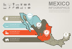 Mexico map with Infographic elements. Infographics layouts. Vector royalty free illustration