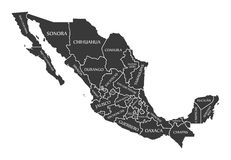 Mexico Map labelled black. Illustration Royalty Free Stock Images