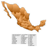 Mexico map names Stock Photography