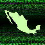 Mexico map over binary code Royalty Free Stock Image
