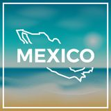Mexico map rough outline against the backdrop Royalty Free Stock Photography