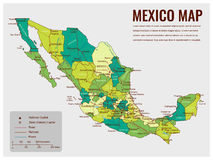 Mexico map with selectable territories. Vector Royalty Free Stock Images