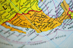 Mexico map. Taken with macro lens royalty free stock photos