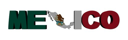Mexico map text with flag Royalty Free Stock Photo