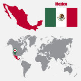 Mexico map on a world map with flag and map pointer. Vector illustration Stock Photos