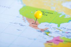 Mexico pinned at the map. Mexico marked at the political administrative map royalty free stock images