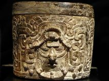 Mexico Maya art acient pot with paintings of mayian life royalty free stock image
