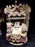 Mexico Maya art acient pot with paintings of mayian life royalty free stock photos