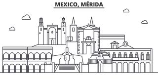 Mexico, Merida architecture line skyline illustration. Linear vector cityscape with famous landmarks, city sights stock illustration