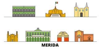 Mexico, Merida flat landmarks vector illustration. Mexico, Merida line city with famous travel sights, skyline, design. Mexico, Merida flat landmarks vector vector illustration