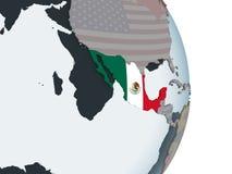 Mexico met vlag op bol royalty-vrije illustratie