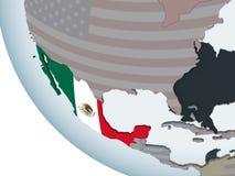 Mexico met vlag op bol vector illustratie