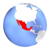 Mexico on metallic globe isolated. Map of Mexico on metallic globe. 3D illustration isolated on white background Royalty Free Stock Images