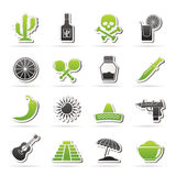Mexico and Mexican culture icons Stock Images