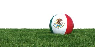Mexico Mexican flag soccer ball lying in grass world cup 2018. Isolated on white background. 3D Rendering, Illustration Royalty Free Stock Photo