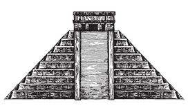 Mexico. Mexican pyramid on a white background. Illustration. Mexican pyramid on a white background Royalty Free Stock Images
