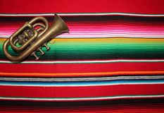 Mexico Mexican traditional cinco de mayo rug poncho fiesta background with stripes Royalty Free Stock Photo