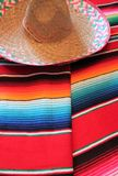 Mexico Mexican traditional cinco de mayo rug poncho fiesta background with stripes Stock Images