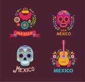 Mexico musik, skalle och matbeståndsdelar vektor illustrationer