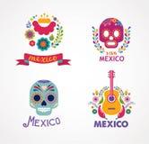 Mexico musik, skalle och matbeståndsdelar stock illustrationer