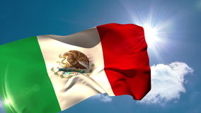 Mexico national flag blowing in the breeze stock video