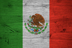 Mexico national flag painted old oak wood Stock Image