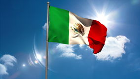 Mexico national flag waving on flagpole stock video footage