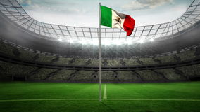 Mexico national flag waving on flagpole stock video