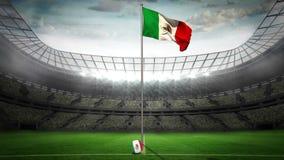 Mexico national flag waving on flagpole stock footage