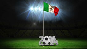 Mexico national flag waving on flagpole with 2014 message stock footage