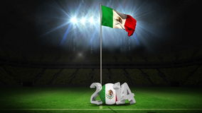 Mexico national flag waving on football pitch with message stock video footage