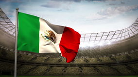 Mexico national flag waving on stadium arena stock video footage