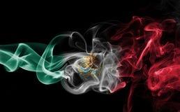 Mexico national smoke flag. Mexico smoke flag isolated on a black background stock photo