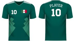 Mexico Fan sports tee shirt in generic country colors. Mexico national soccer team shirt in generic country colors for fan apparel royalty free illustration
