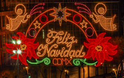 Mexico - natt för stadsZocalo Mexico jul Feliz Navidad Sign Royaltyfri Foto