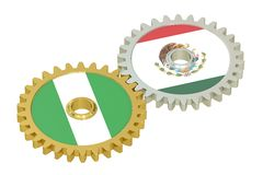 Mexico and Nigeria flags on a gears, 3D rendering Royalty Free Stock Photos