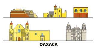 Mexico, Oaxaca flat landmarks vector illustration. Mexico, Oaxaca line city with famous travel sights, skyline, design. Mexico, Oaxaca flat landmarks vector vector illustration