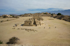 Mexico Oaxaca Monte Alban central square with sellers and cloudy stock image