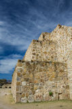 Mexico Oaxaca Monte Alban pyramide wall and sky. And steps Stock Photo