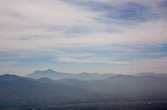 Mexico Oaxaca Monte Alban valley view with clouds. Cape Stock Photo