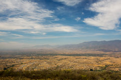 Mexico Oaxaca Monte Alban valley view with cloudy skies. And mountain range Stock Photos
