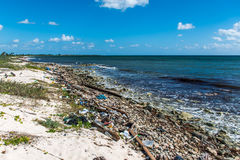 Mexico ocean Pollution Problem plastic litter  Stock Photo