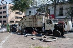 MEXICO - OCTOBER 19, 2017: Mexico Cityscape with Local Trash and Garbage Truck. Mexico Cityscape with Local Trash and Garbage Truck stock images
