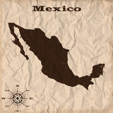 Mexico old map with grunge and crumpled paper. Vector illustration Stock Photo