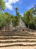 Mexico på vägen till den Coba pyramiduppstigningen royaltyfria foton