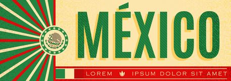 Mexico patriotic banner vintage design, mexican flag colors royalty free illustration