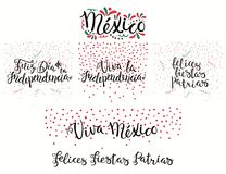 Mexico patriotic holidays quotes. Set of hand written calligraphic Spanish lettering quotes for Mexico patriotic holidays with stars, confetti, in flag colors Royalty Free Stock Photo