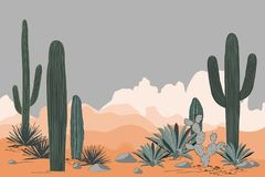 Mexico pattern with opuntia, agave, and saguaro cacti. Mountains background. Place for text Stock Images