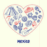 Mexico Pen Drawn Doodles Vector Collection Royalty Free Stock Photography