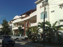 Mexico Playa del Carmen. Apartment blue palm sun day Royalty Free Stock Images